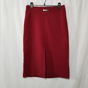 Unit red midi pencil skirt with slit in front